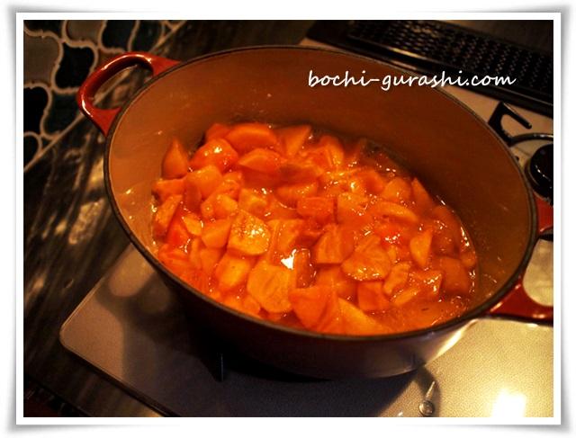 柿ジャム煮始め1
