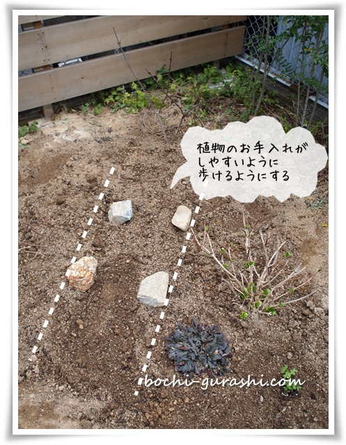 庭のコーナーに小道を作る