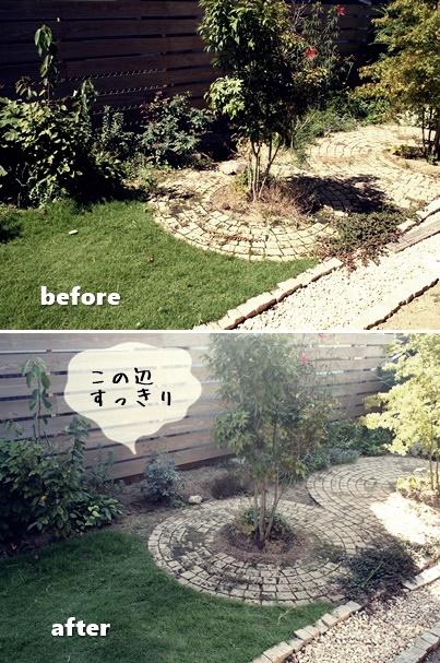 夏後の庭処理ビフォーアフター