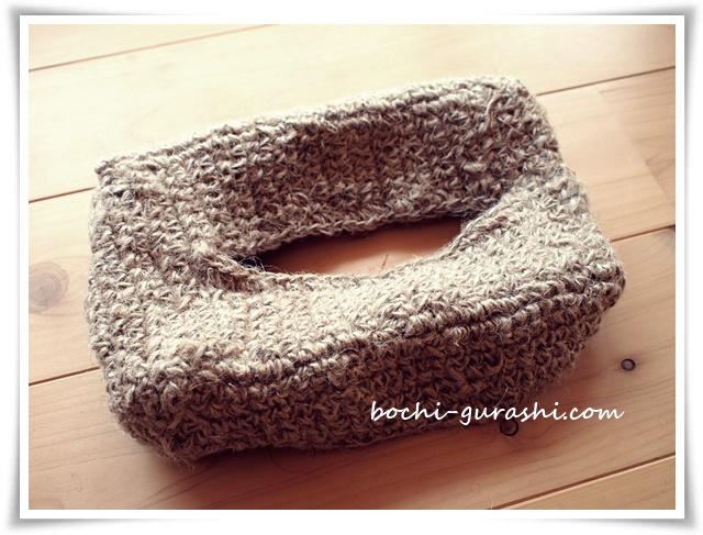 麻紐で編むティッシュカバー