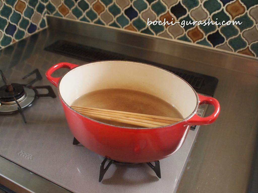 天然木箸の熱湯消毒
